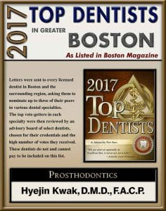 Listed top dentist in Boston Magazine